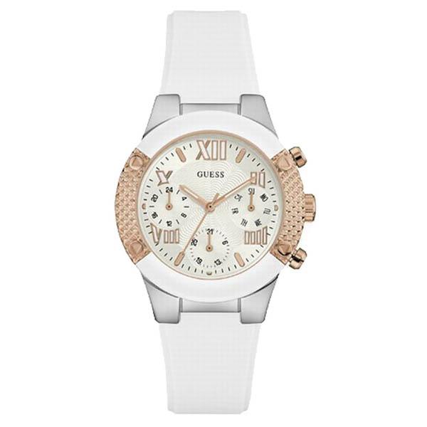 【クーポン利用で800円OFF】W0773L1 GUESS ゲス 腕時計 ROCKSTAR ロックスター レディース 白文字盤 ホワイト 白 ピンクゴールド ピンクゴールドベゼル おしゃれ かわいい