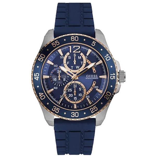 【クーポン利用で1000円OFF】W0798G2 GUESS ゲス 腕時計 JET ジェット メンズ 青文字盤 ブルー 青 ピンクゴールドコンビ プレゼント