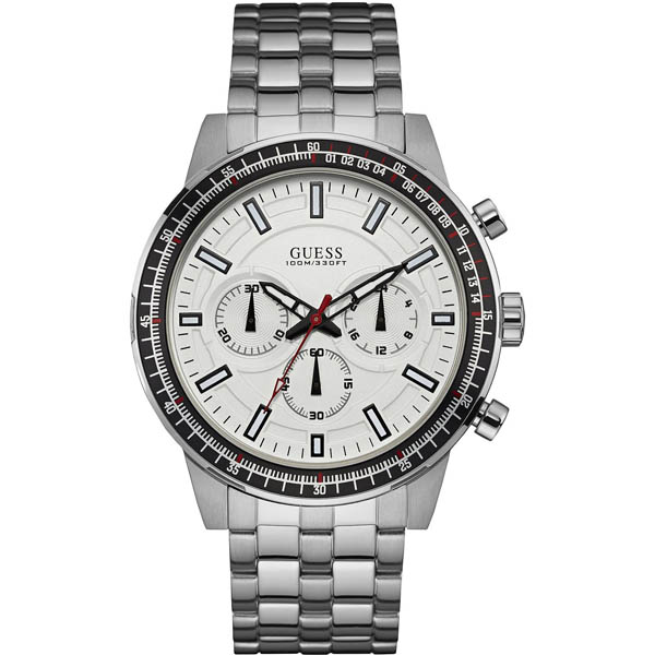【クーポン利用で1000円OFF】W0801G1 GUESS ゲス 腕時計 FUEL フューエル メンズ 白 ホワイト文字盤 プレゼント