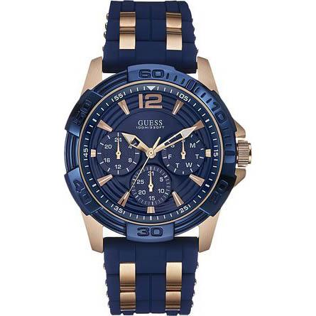 【クーポン利用で3000円OFF】W0366G4 GUESS ゲス 腕時計 OASIS オアシス メンズ 青文字盤 ブルー 青 ピンクゴールドコンビ プレゼント
