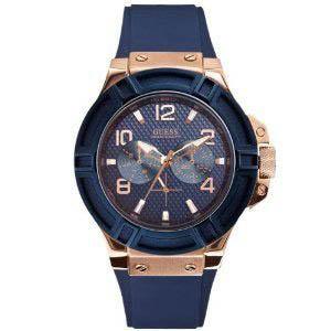 【クーポン利用で1000円OFF】W0247G3 GUESS ゲス 腕時計 RIGOR リガー メンズ 青文字盤 ブルー 青 ピンクゴールドコンビ プレゼント