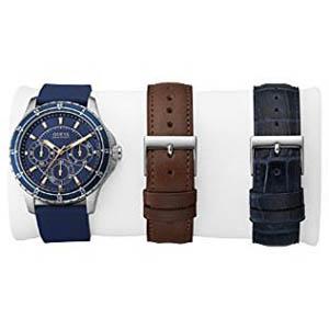 【クーポン利用で3000円OFF】W0742G1 GUESS ゲス 腕時計 LONGITUDE(BOX SET) ランジチュード メンズ 青文字盤 ブルー 青 ピンクゴールドコンビ プレゼント