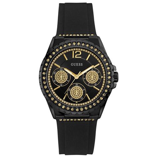 W0846L1 GUESS ゲス STARLIGHT スターライト Ladies Sports アナログ ゴールドラインストーン 黒 ブラック クロノグラフ レディース 腕時計 国内正規品 送料無料