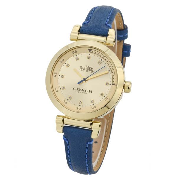 14502538 COACH コーチ 1941 SPORT ゴールド文字盤 ブルーレザー アナログ 革バンド レディース 腕時計 送料無料