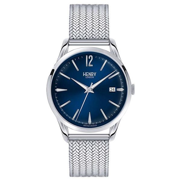 HL39-M-0029 HENRY LONDON ヘンリーロンドン アナログ 青文字盤 ネイビーブルー  メッシュバンド カレンダー プレミアム 学割 対象 ユニセックス 男女兼用 腕時計