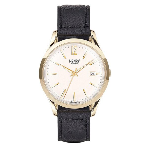HL39-S-0010 HENRY LONDON ヘンリーロンドン 革バンド カレンダー アナログ 白文字盤 ホワイト  ブラックレザー ゴールドケース プレミアム 学割 対象 ユニセックス 男女兼用 腕時計