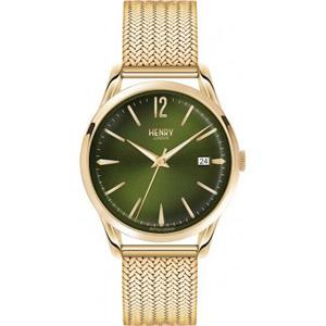 HL39-M-0102 HENRY LONDON ヘンリーロンドン アナログ モスグリーン文字盤 緑 ゴールドケース ゴールドメッシュバンド カレンダー プレミアム 学割 対象 ユニセックス 男女兼用 腕時計