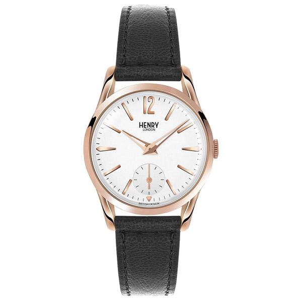 HL30-US-0024 HENRY LONDON ヘンリーロンドン アナログ 白文字盤 ホワイト ローズゴールドケース スモールセコンド 革バンド ブラックレザー プレミアム 学割 対象 レディース 腕時計
