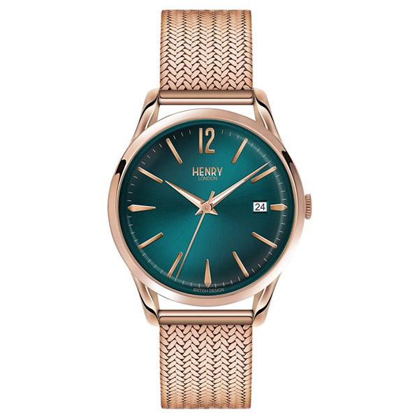 HL39-M-0136 HENRY LONDON ヘンリーロンドン アナログ グリーン文字盤 緑 エメラルドグリーン メッシュバンド ローズゴールド カレンダー プレミアム 学割 対象 ユニセックス 男女兼用 腕時計