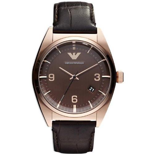 【クーポン利用で800円OFF】AR0367 EMPORIO ARMANI エンポリオアルマーニ ブラウン ピンクゴールド メンズ 腕時計 並行輸入品 送料無料