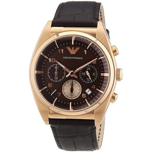 【クーポン利用で1000円OFF】AR0371 EMPORIO ARMANI エンポリオアルマーニ ブラウン ピンクゴールド メンズ 腕時計 並行輸入品 送料無料