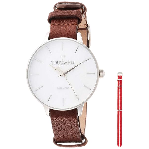 【クーポン利用で1000円OFF】2451120505 TRUSSARDI トラサルディ ホワイト 白文字盤 赤 レディース 腕時計 送料無料