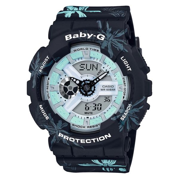 【クーポン利用で1000円OFF】BA-110CF-1AJF ベビーG BABY-G ベビージー ベイビージー カシオ  CASIO サマー フラワーパターン ブラック 黒 レディース 腕時計 国内正規品