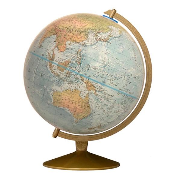 【海底地形をリアルに表現】リプルーグルアンティーク地球儀マリナー型【色分けされた地勢地図】