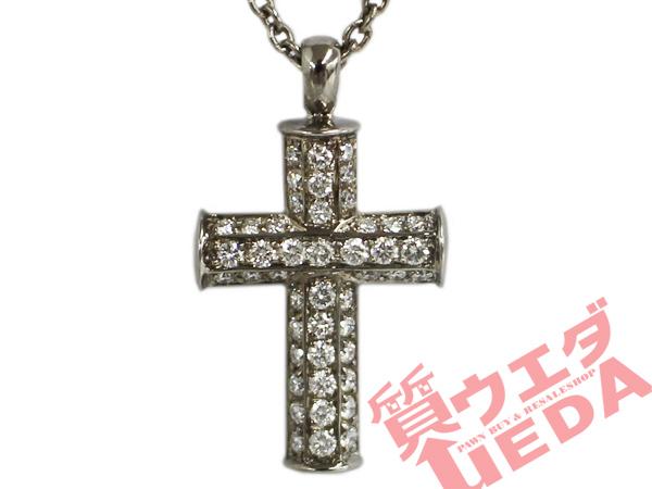 【名古屋】【BVLGARI】ブルガリ/ラテンクロス ダイヤモンド ネックレス/K18WG/約40CM【中古】