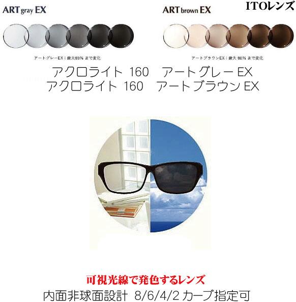可視光線で発色する調光レンズ アクロライト160アートグレーEX サービス アクロライト160アートブラウンEX 可視光線調光レンズ ACROLITE160ARTGRAYEX 単焦点 内面非球面 2020 新作 ACROLITE160ARTBROWNEX ITOレンズ