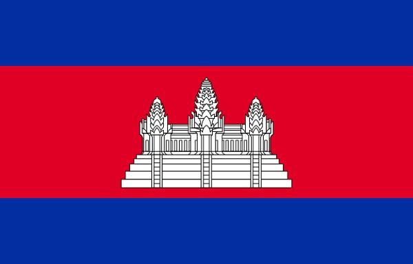 カンボジア 国旗 アクリル生地 70x105cm