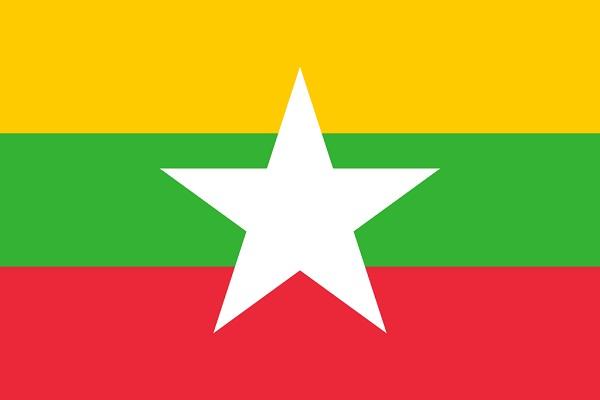 ミャンマー 国旗 アクリル生地 120x180cm