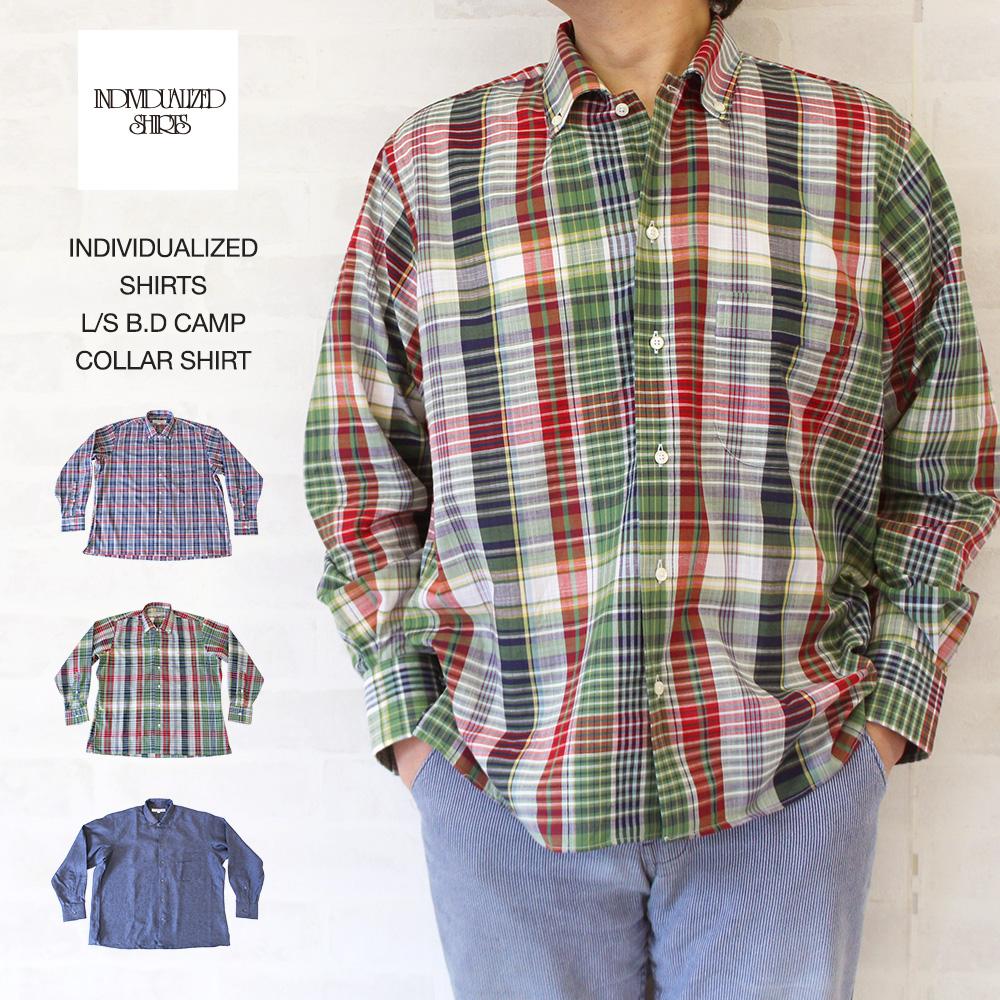 インディビジュアライズド シャツ INDIVIDUALIZED SHIRTS L/S B.D CAMP COLLAR SHIRT 長袖B.Dキャンプカラーシャツ