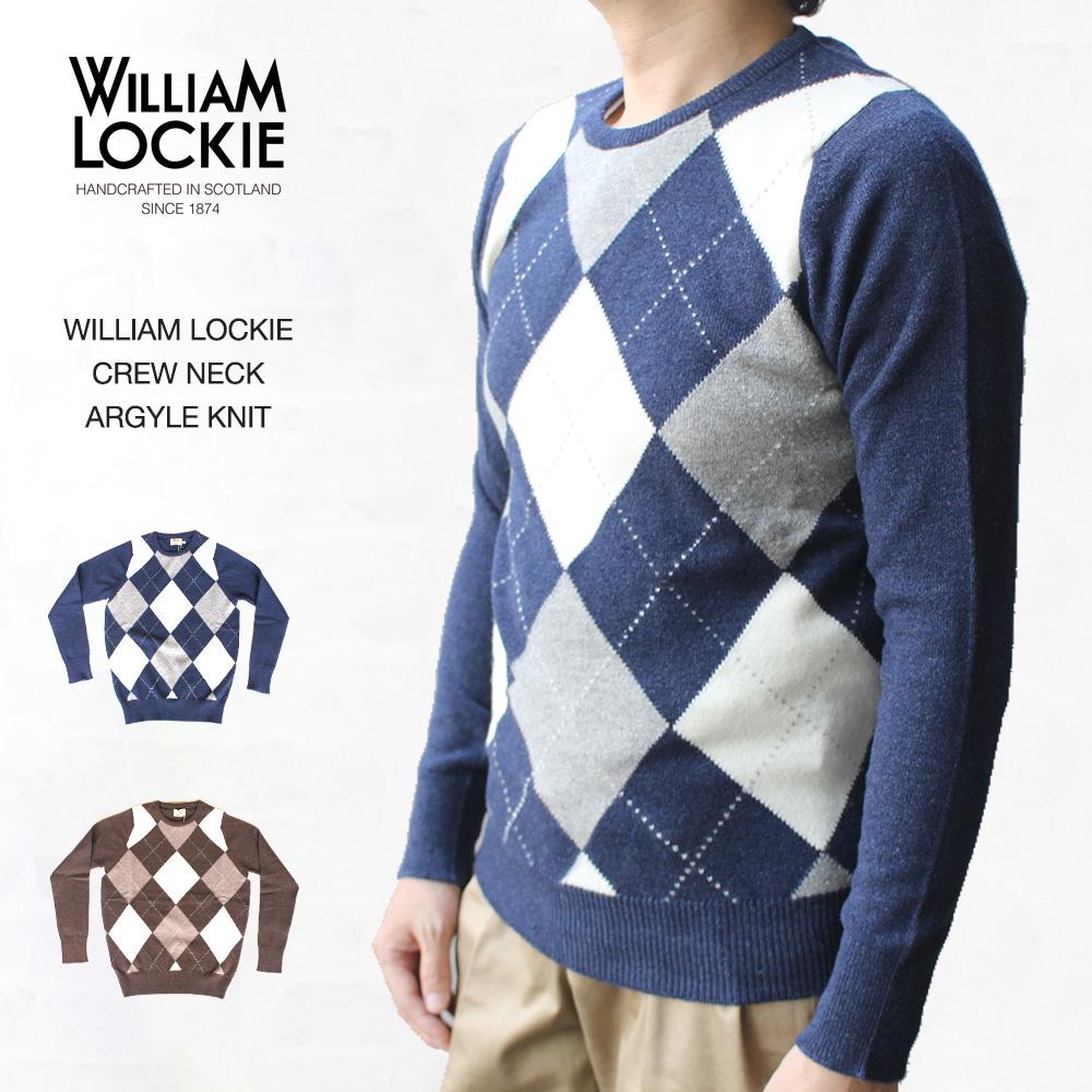 ウィリアムロッキー WILLIAM LOCKIE CREW NECK ARGYLE KNIT クルーネック アーガイルニット