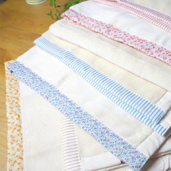 捧呈 小花柄×ストライプのパイピング 肌に優しいコットン素材のブランケット 年中無休 日本製 ベビー綿毛布 お昼寝ケット アニック