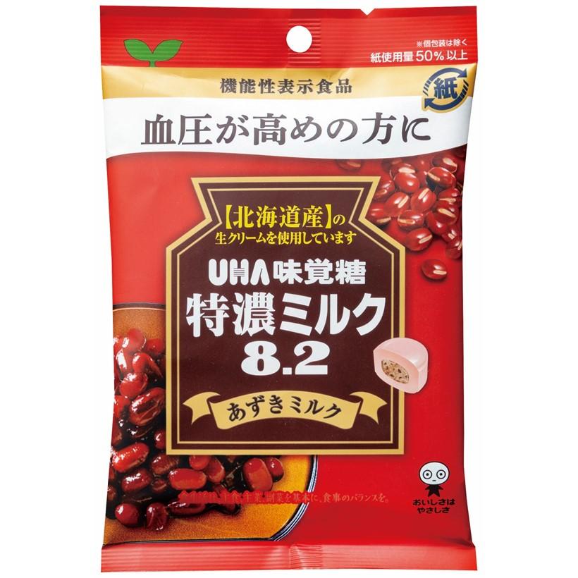 GABA配合 血圧が高めの方に 小豆の上品な甘さとミルクのコク 購入 UHA味覚糖 機能性表示食品 送料無料 激安 お買い得 キ゛フト あずきミルク 1袋 特濃ミルク8.2