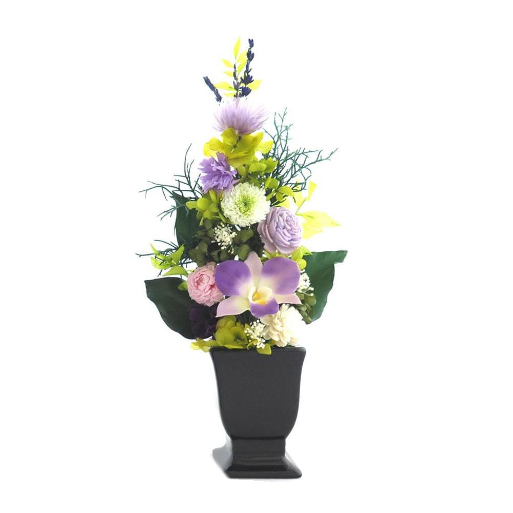 お手入れいらずの仏花でいつも美しく 送料無料 土橋美穂デザイン お供え用 プリザーブドフラワー タイムセール 蘭 Lサイズ 花器付 豊富な品 y アレンジメント