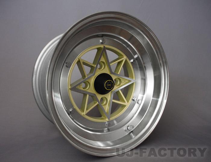 STAR SHARK 復刻版 旧車ホイール 14×9.0J (スターシャーク) 4本購入で送料無料 [COLIN PROJECT] GOLD 4H PCD114.3 -26