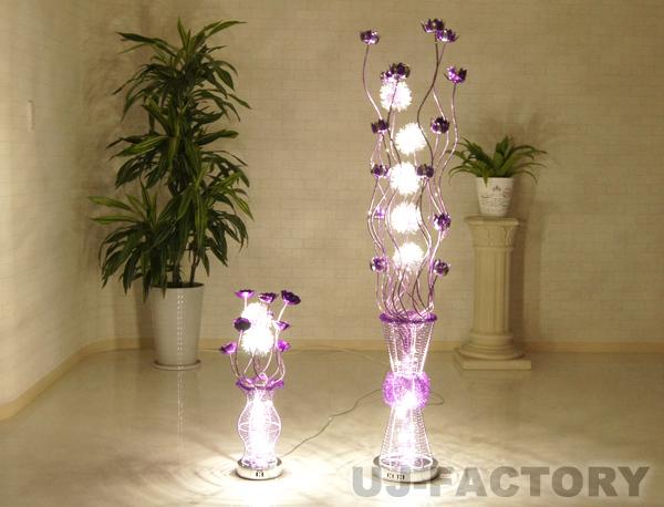 ★ゴージャス LED フラワースタンド/パープル★フロアスタンド+テーブルスタンドのセット! 豪華 紫