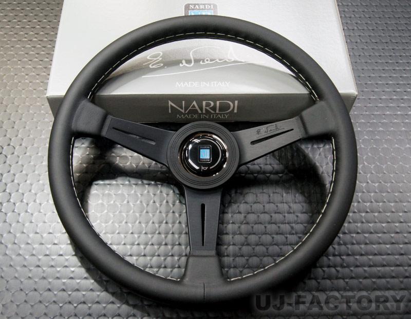 【正規品】NARDI CLASSIC ブラックレザー (クラシックレザー) ステアリング / 34パイ(N341) or 36パイ(N130) ブラックスポーク/グレーステッチ (ホーンボタン付属) ナルディ