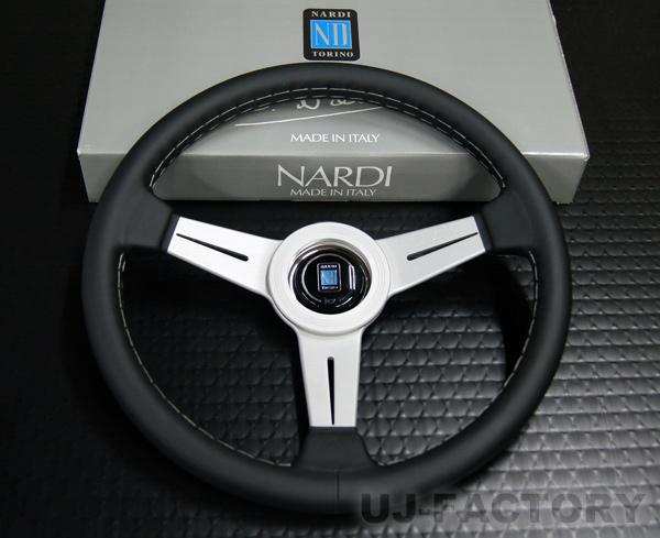 【正規品】NARDI CLASSIC ブラックレザー (クラシックレザー) ステアリング / N342 シルバースポーク 34φ (ホーンボタン付属) ナルディ/N342