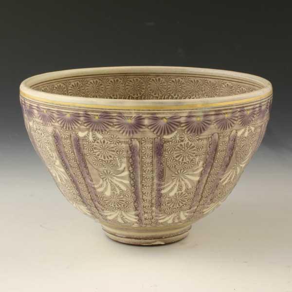 【 送料無料 】 京焼 清水焼 京 焼き 京焼き 茶道具 抹茶碗 1客 桐箱入り 紫彩華紋 しさいかもん