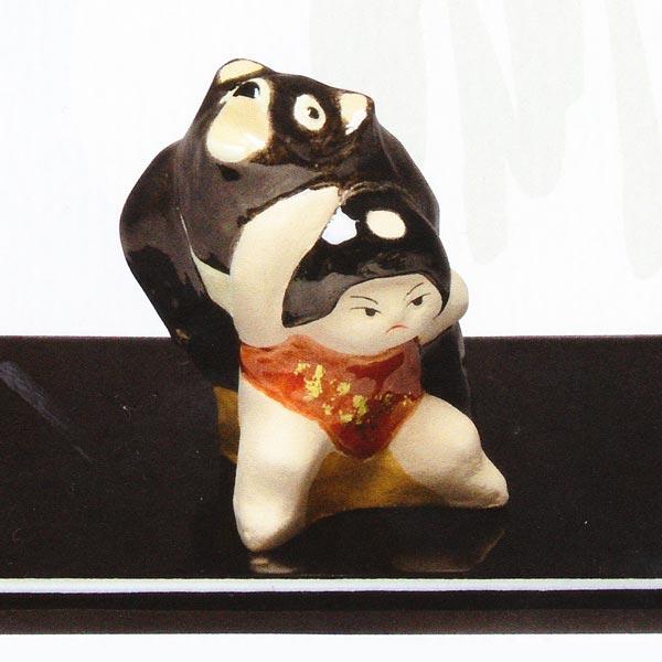 【 送料無料 】 京焼 清水焼 京 焼き 京焼き 置物 熊に金太郎(塗台付)置物小