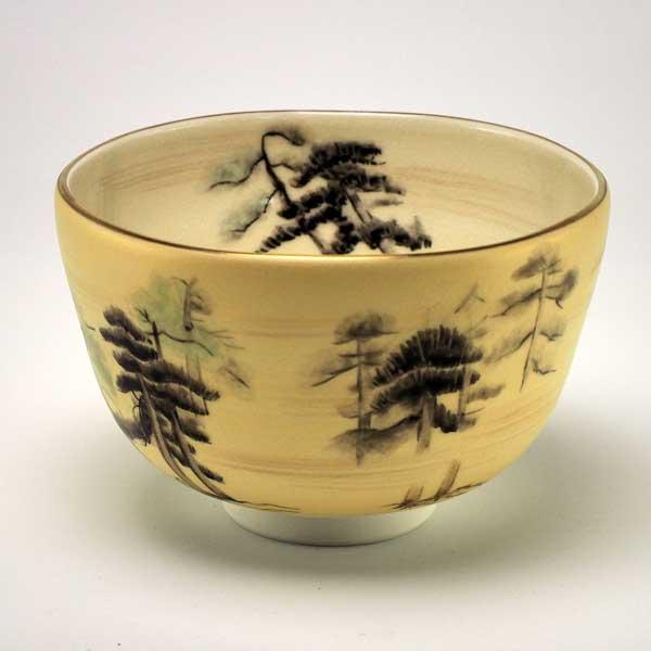 【 送料無料 】 京焼 清水焼 京 焼き 京焼き 等伯・松林図 抹茶碗