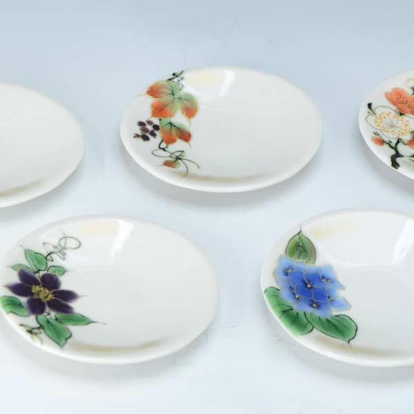 【 送料無料 】 京焼 清水焼 京 焼き 京焼き 三寸皿 5枚セット揃 四季の花 しきのはな