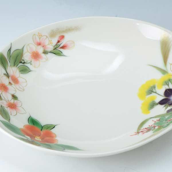 【 送料無料 】 京焼 清水焼 京 焼き 京焼き 楕円鉢 四季の花 しきのはな