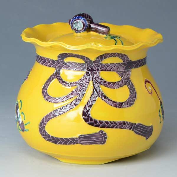 【 送料無料 】 京焼 清水焼 京 焼き 京焼き 香炉 黄交趾宝袋 きこうちたからぶくろ