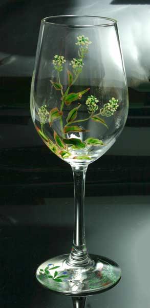 【 送料無料 】 京焼き絵付け ワイングラス(大) ギフト 十二ケ月花鳥図(菜花)