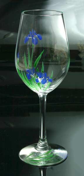 【 送料無料 】 京焼き絵付け ワイングラス(大) ギフト 十二ケ月花鳥図(杜若)