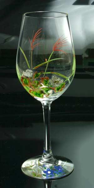 【 送料無料 】 京焼き絵付け ワイングラス(大) ギフト 十二ケ月花鳥図(秋草)