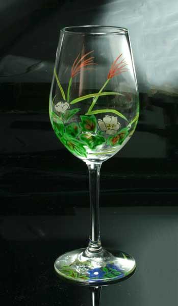 【 送料無料 】 京焼き絵付け ワイングラス(小) ギフト 十二ケ月花鳥図(秋草)