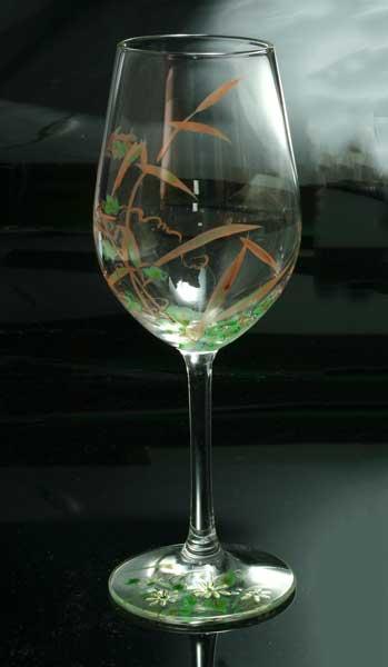 【 送料無料 】 京焼き絵付け ワイングラス(小) ギフト 十二ケ月花鳥図(芦)