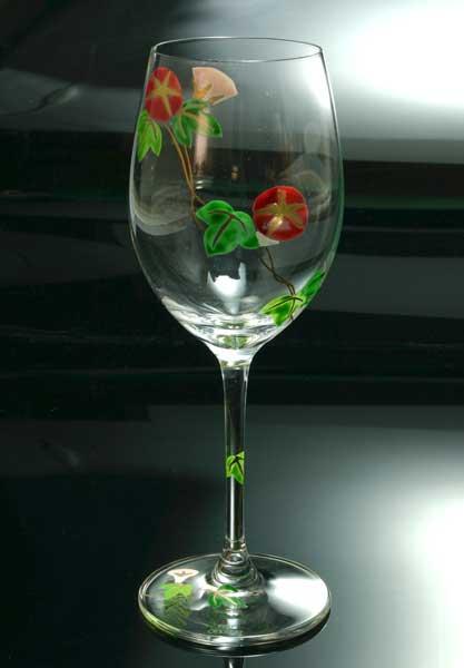 【 送料無料 】 京焼き絵付け ワイングラス(小) ギフト 朝顔