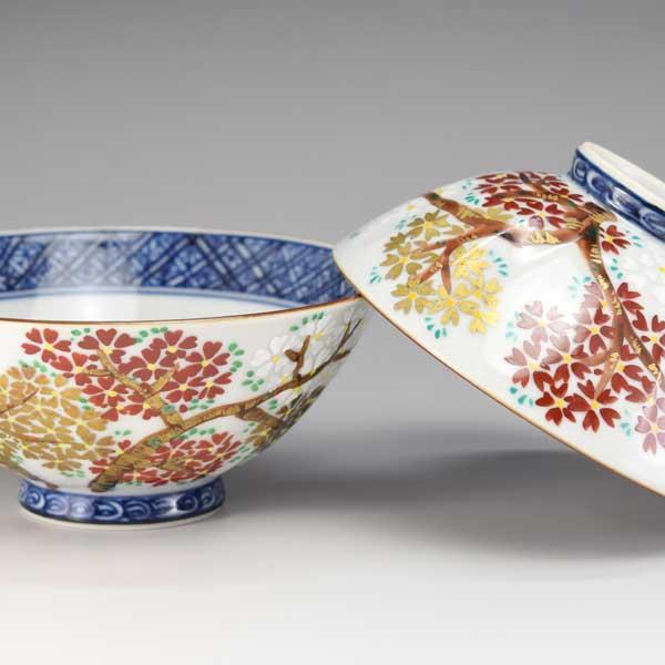 【 送料無料 】 京焼 清水焼 京 焼き 京焼き 夫婦茶碗 組飯碗 2客セット 木箱入り ご飯茶碗 三色桜