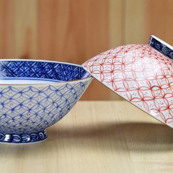 【 送料無料 】 京焼 清水焼 京 焼き 京焼き 夫婦茶碗 組飯碗 2客セット 木箱入り ご飯茶碗 青赤七宝