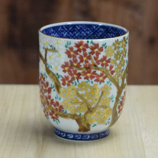 【 送料無料 】 京焼 清水焼 京 焼き 京焼き 湯呑み 小 1客 木箱入り 三色桜