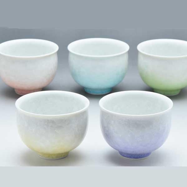 【 送料無料 】 京焼 清水焼 京 焼き 京焼き お茶呑茶碗 湯飲み茶碗 来客用にも ゆのみ 5客 紙箱入り 五色花結晶 ごしきはなけっしょう