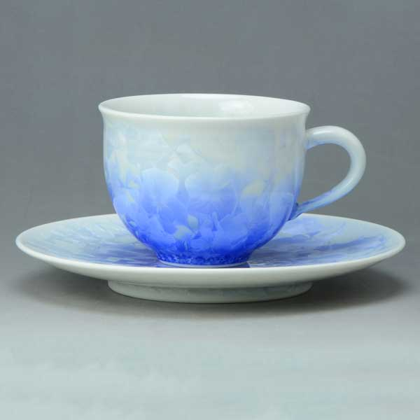 【 送料無料 】 京焼 清水焼 京 焼き 京焼き 珈琲碗皿 花結晶(白青) はなけっしょう(しろあお)