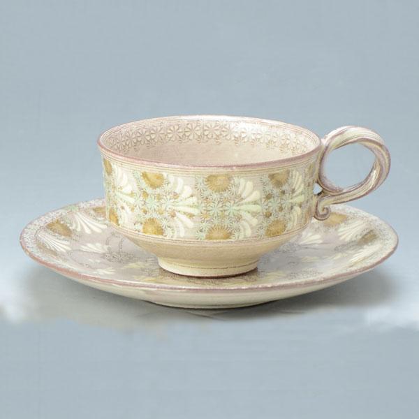 【 送料無料 】 京焼 清水焼 京 焼き 京焼き 紅茶碗皿 紫翠紋・双花 しすいもん・そうか