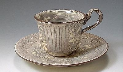【 送料無料 】 京焼 清水焼 京 焼き 京焼き 珈琲紅茶碗皿 セピア(せぴあ)